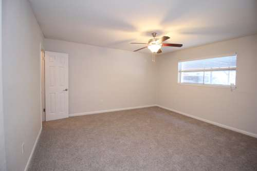 Ceiling fans in the living room and bedrooms